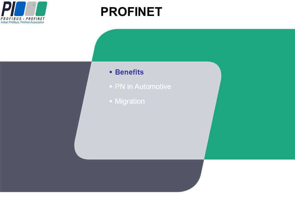 PROFINET 14 I/O Wireless Real-time IO Controller Machine-to-Machine Integration Motion Control Drives Office Network Controller Vertical Integration Firewall Security Integrates Other Busses Allen-Bradley XX55 CE DeviceNet Proxy Safety OPC Switch Controller I/O Proxy PROFIBUS PA PROFIBUS DP Wireless Discrete Sensors WSAN Gateway AS-interface HMI OPC
