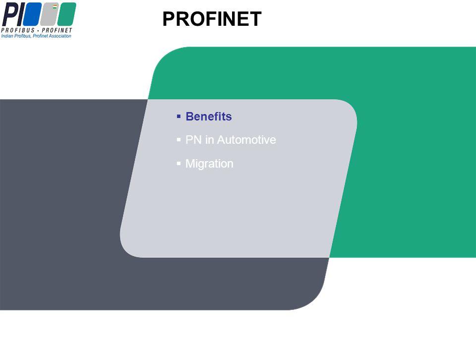 Migration PN in Automotive Benefits PROFINET IOPROFINET IO PROFINET