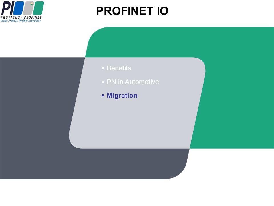 Migration PN in Automotive Benefits PROFINET IOPROFINET IO PROFINET IO