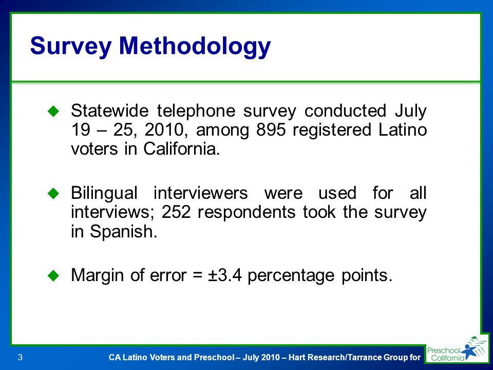 CA Latino Voters and Preschool – July 2010 – Hart Research/Tarrance Group for3 Survey Methodology Statewide telephone survey conducted July 19 – 25, 2010, among 895 registered Latino voters in California.