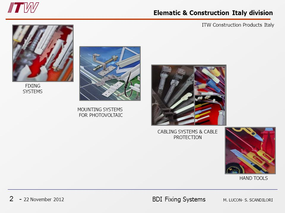 2 - 22 November 2012 Elematic & Construction Italy division ITW Construction Products Italy BDI Fixing Systems M.