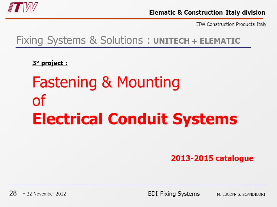 28 - 22 November 2012 Elematic & Construction Italy division ITW Construction Products Italy BDI Fixing Systems M.