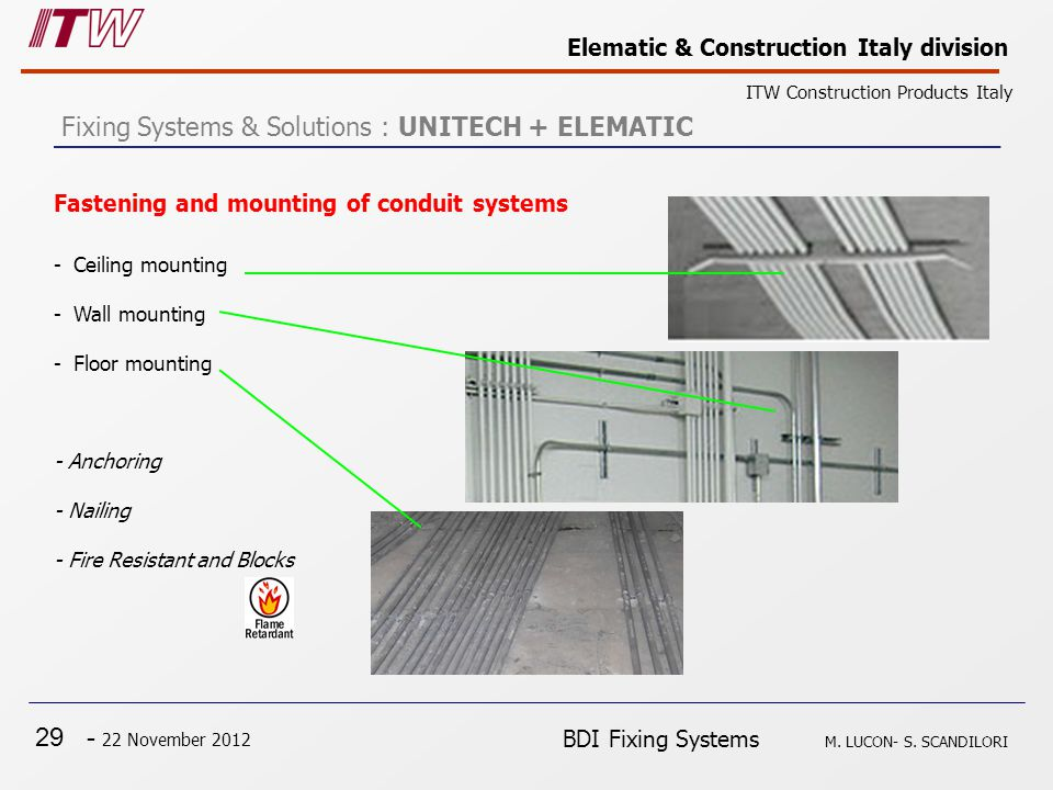 29 - 22 November 2012 Elematic & Construction Italy division ITW Construction Products Italy BDI Fixing Systems M. LUCON- S. SCANDILORI Fastening and