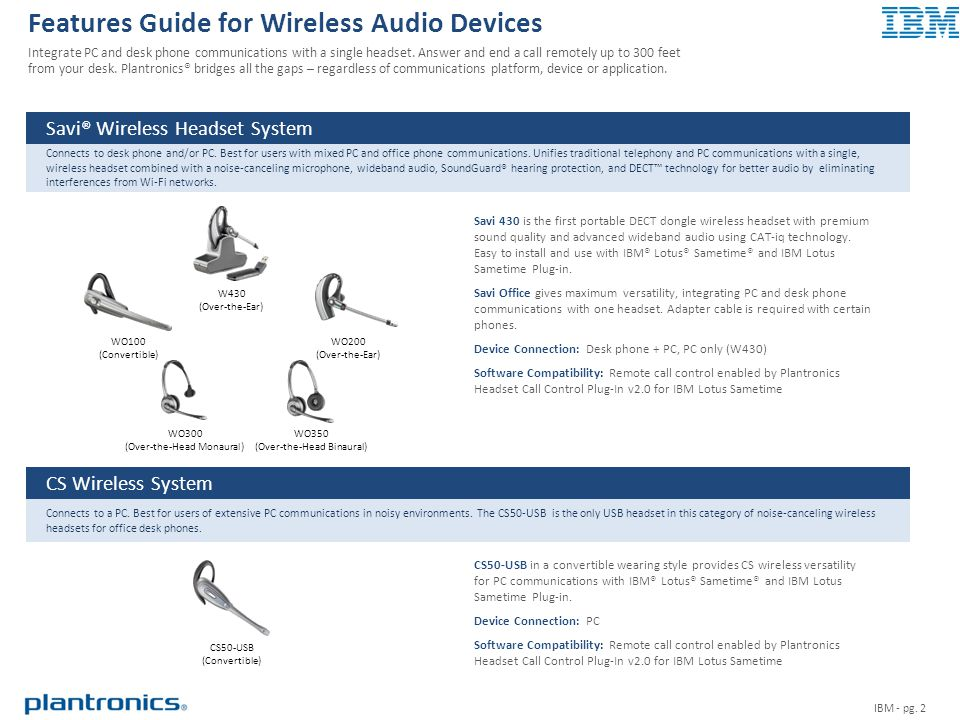 Features Guide for Wireless Audio Devices Integrate PC and desk phone communications with a single headset.