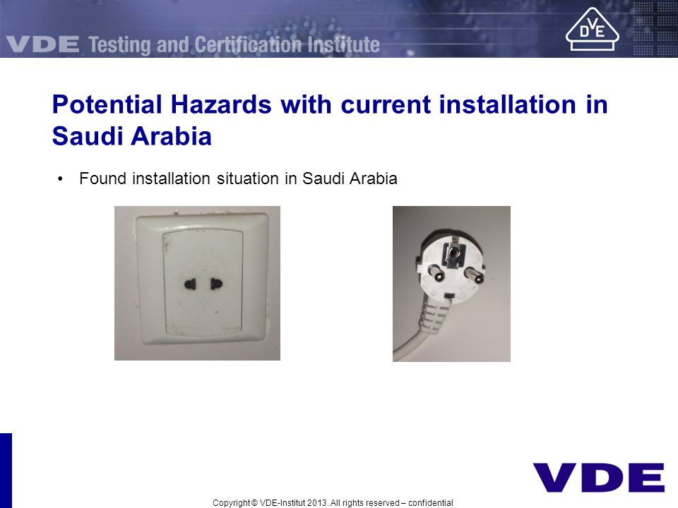Potential Hazards with current installation in Saudi Arabia Found installation situation in Saudi Arabia Copyright © VDE-Institut 2013. All rights res