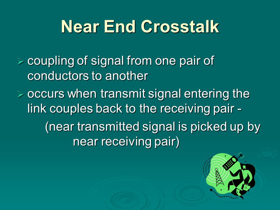 Near End Crosstalk coupling of signal from one pair of conductors to another coupling of signal from one pair of conductors to another occurs when tra