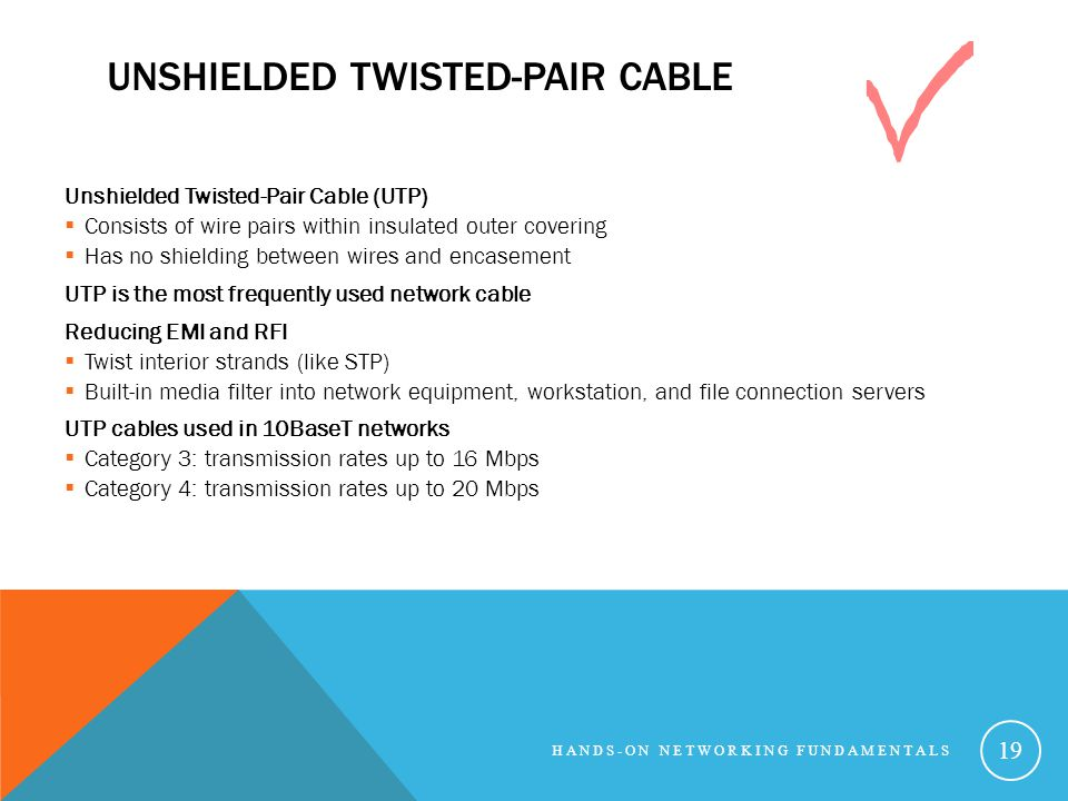 UNSHIELDED TWISTED-PAIR CABLE Unshielded Twisted-Pair Cable (UTP) Consists of wire pairs within insulated outer covering Has no shielding between wire