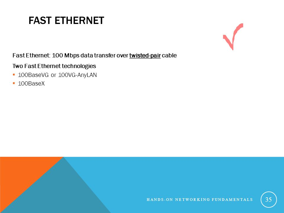 FAST ETHERNET twisted-pair Fast Ethernet: 100 Mbps data transfer over twisted-pair cable Two Fast Ethernet technologies 100BaseVG or 100VG-AnyLAN 100BaseX HANDS-ON NETWORKING FUNDAMENTALS 35