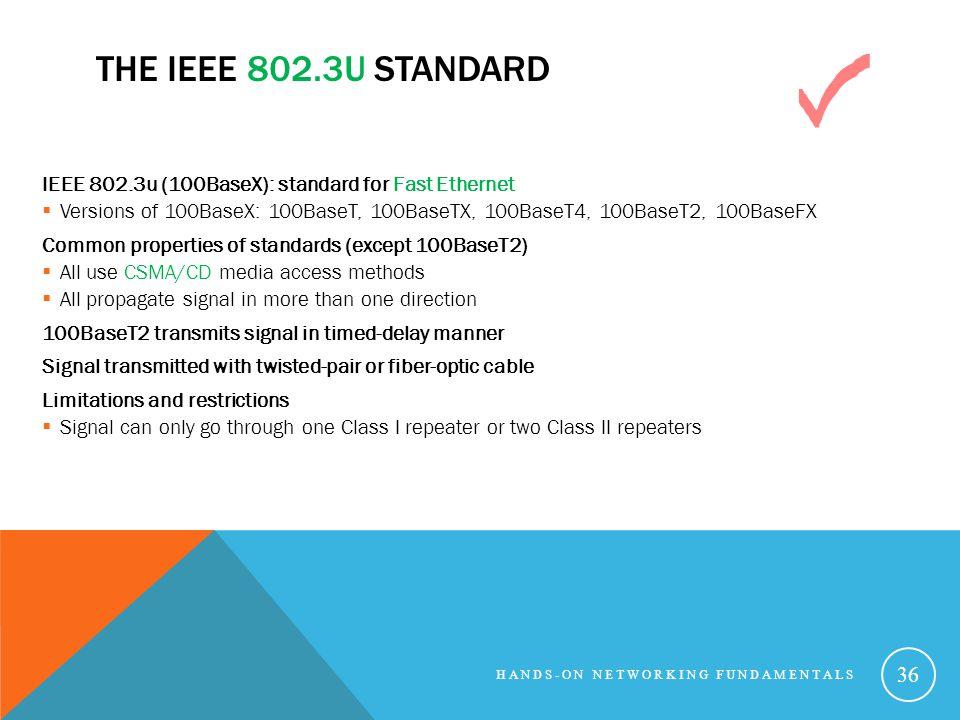 THE IEEE 802.3U STANDARD IEEE 802.3u (100BaseX): standard for Fast Ethernet Versions of 100BaseX: 100BaseT, 100BaseTX, 100BaseT4, 100BaseT2, 100BaseFX