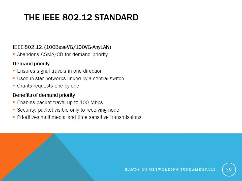 THE IEEE 802.12 STANDARD IEEE 802.12: (100BaseVG/100VG-AnyLAN) Abandons CSMA/CD for demand priority Demand priority Ensures signal travels in one direction Used in star networks linked by a central switch Grants requests one by one Benefits of demand priority Enables packet travel up to 100 Mbps Security: packet visible only to receiving node Prioritizes multimedia and time sensitive transmissions HANDS-ON NETWORKING FUNDAMENTALS 39