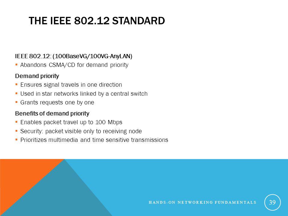THE IEEE 802.12 STANDARD IEEE 802.12: (100BaseVG/100VG-AnyLAN) Abandons CSMA/CD for demand priority Demand priority Ensures signal travels in one dire