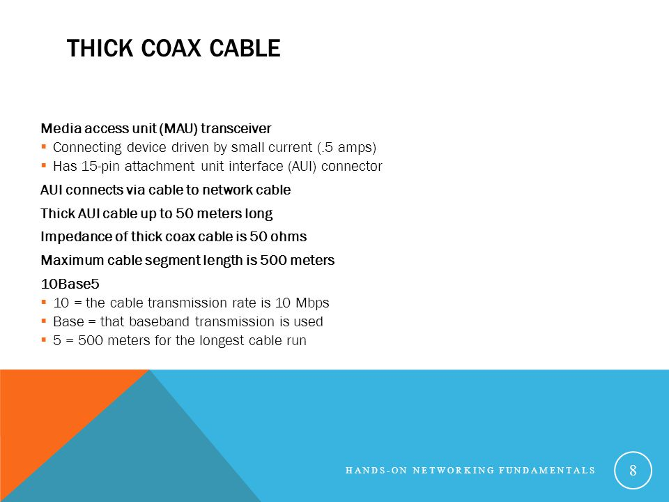 THICK COAX CABLE Media access unit (MAU) transceiver Connecting device driven by small current (.5 amps) Has 15-pin attachment unit interface (AUI) co