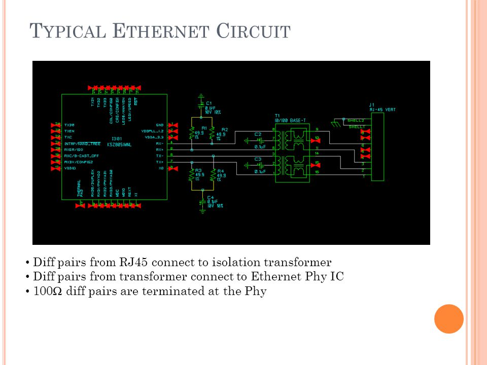T YPICAL E THERNET C IRCUIT Diff pairs from RJ45 connect to isolation transformer Diff pairs from transformer connect to Ethernet Phy IC 100 diff pair