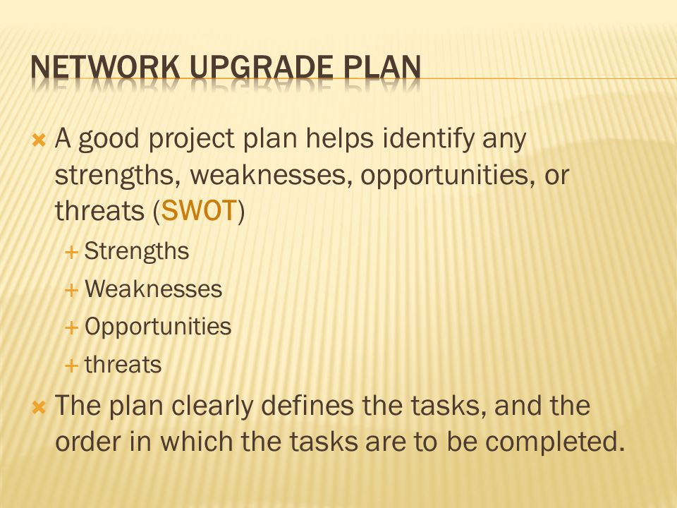 A good project plan helps identify any strengths, weaknesses, opportunities, or threats (SWOT) Strengths Weaknesses Opportunities threats The plan clearly defines the tasks, and the order in which the tasks are to be completed.