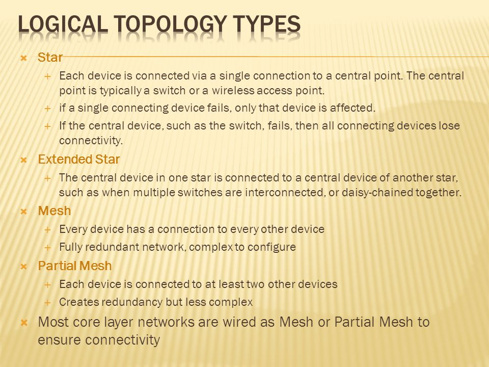 Star Each device is connected via a single connection to a central point. The central point is typically a switch or a wireless access point. if a sin