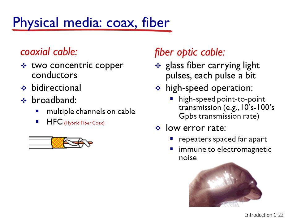 Introduction Physical media: coax, fiber coaxial cable: two concentric copper conductors bidirectional broadband: multiple channels on cable HFC (Hybrid Fiber Coax) fiber optic cable: glass fiber carrying light pulses, each pulse a bit high-speed operation: high-speed point-to-point transmission (e.g., 10s-100s Gpbs transmission rate) low error rate: repeaters spaced far apart immune to electromagnetic noise 1-22