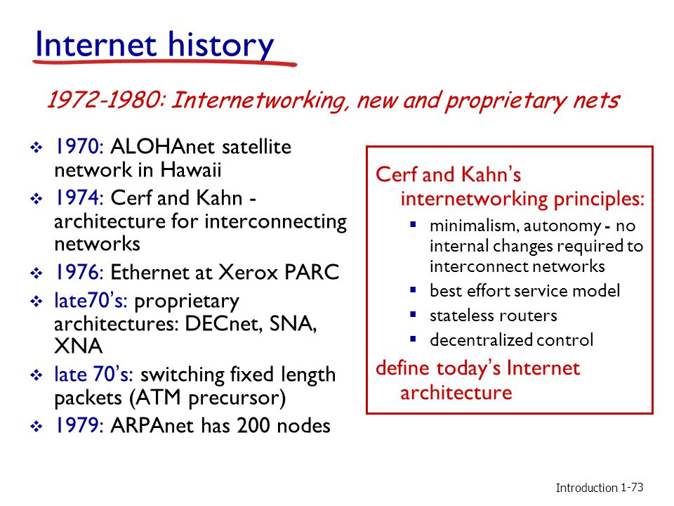 Introduction 1970: ALOHAnet satellite network in Hawaii 1974: Cerf and Kahn - architecture for interconnecting networks 1976: Ethernet at Xerox PARC late70s: proprietary architectures: DECnet, SNA, XNA late 70s: switching fixed length packets (ATM precursor) 1979: ARPAnet has 200 nodes Cerf and Kahns internetworking principles: minimalism, autonomy - no internal changes required to interconnect networks best effort service model stateless routers decentralized control define todays Internet architecture 1972-1980: Internetworking, new and proprietary nets Internet history 1-73