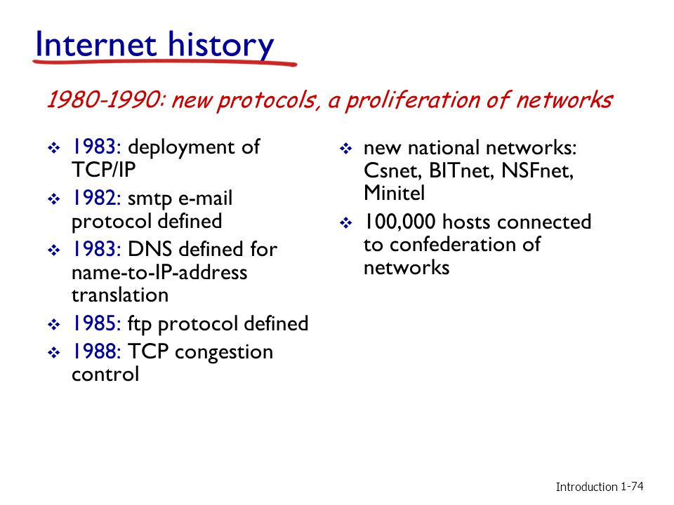 Introduction 1983: deployment of TCP/IP 1982: smtp e-mail protocol defined 1983: DNS defined for name-to-IP-address translation 1985: ftp protocol defined 1988: TCP congestion control new national networks: Csnet, BITnet, NSFnet, Minitel 100,000 hosts connected to confederation of networks 1980-1990: new protocols, a proliferation of networks Internet history 1-74