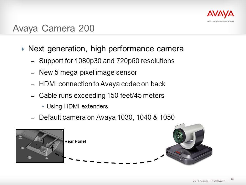 2011 Avaya – Proprietary. 10 Avaya Camera 200 Next generation, high performance camera – Support for 1080p30 and 720p60 resolutions – New 5 mega-pixel