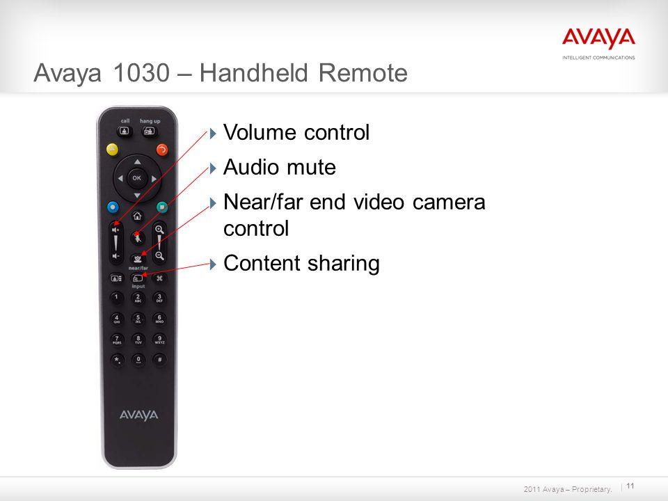 2011 Avaya – Proprietary. 11 Avaya 1030 – Handheld Remote Volume control Audio mute Near/far end video camera control Content sharing