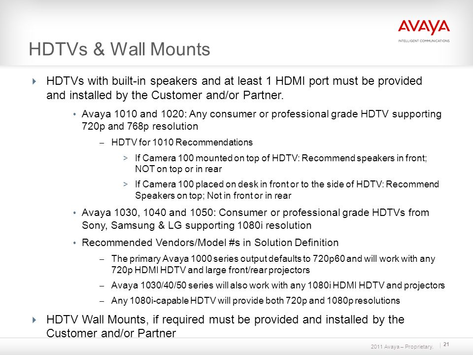 2011 Avaya – Proprietary. 21 HDTVs & Wall Mounts HDTVs with built-in speakers and at least 1 HDMI port must be provided and installed by the Customer