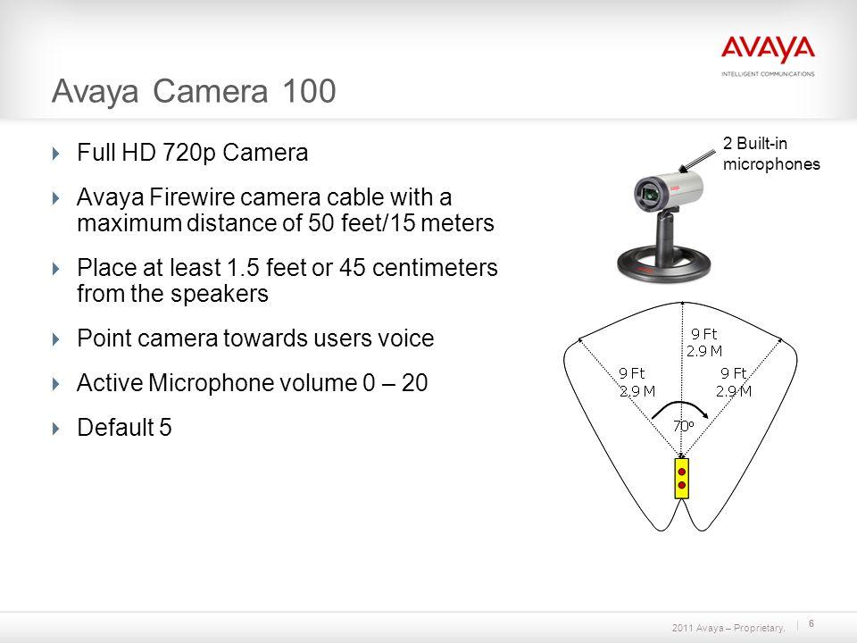2011 Avaya – Proprietary. Avaya Camera 100 Full HD 720p Camera Avaya Firewire camera cable with a maximum distance of 50 feet/15 meters Place at least