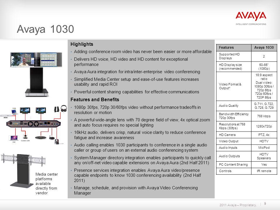2011 Avaya – Proprietary. 9 Avaya 1030 Media center platforms available directly from vendor FeaturesAvaya 1030 Supported HD Displays 2 HD Display siz