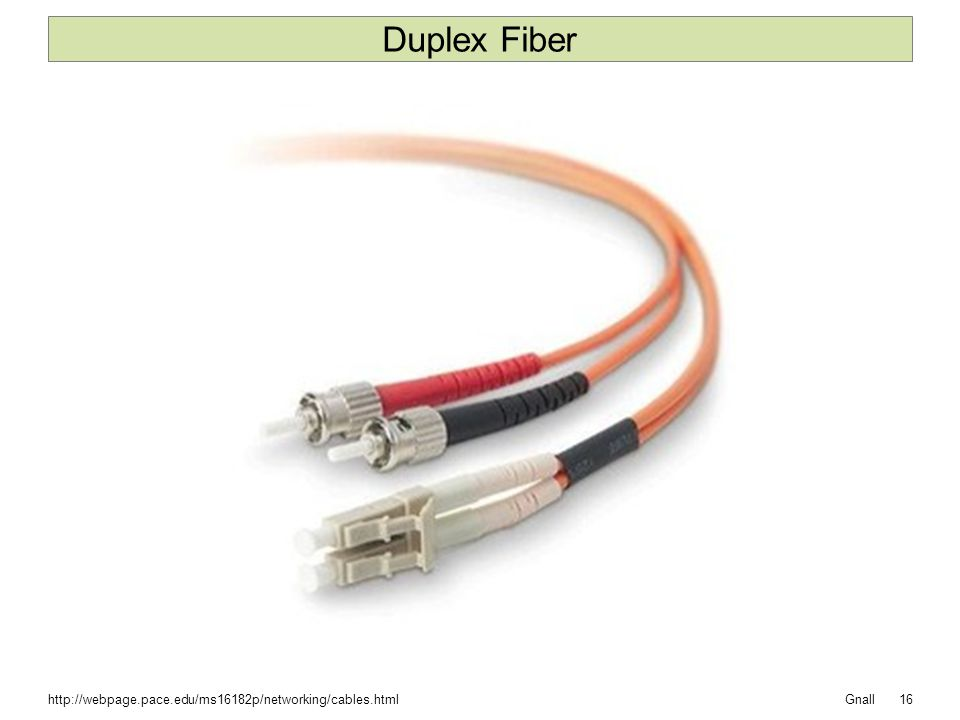 Gnall Duplex Fiber 16http://webpage.pace.edu/ms16182p/networking/cables.html