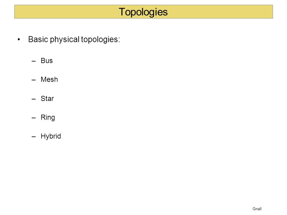 Gnall Topologies Basic physical topologies: –Bus –Mesh –Star –Ring –Hybrid
