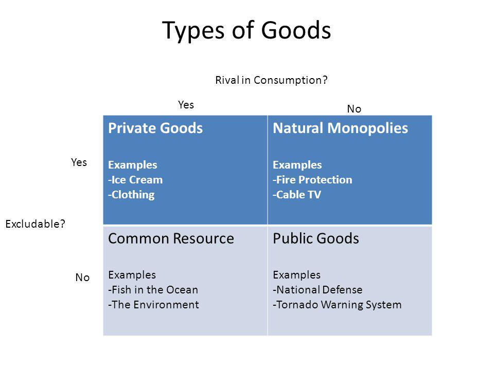 Types of Goods Private Goods Examples -Ice Cream -Clothing Natural Monopolies Examples -Fire Protection -Cable TV Common Resource Examples -Fish in the Ocean -The Environment Public Goods Examples -National Defense -Tornado Warning System Rival in Consumption.