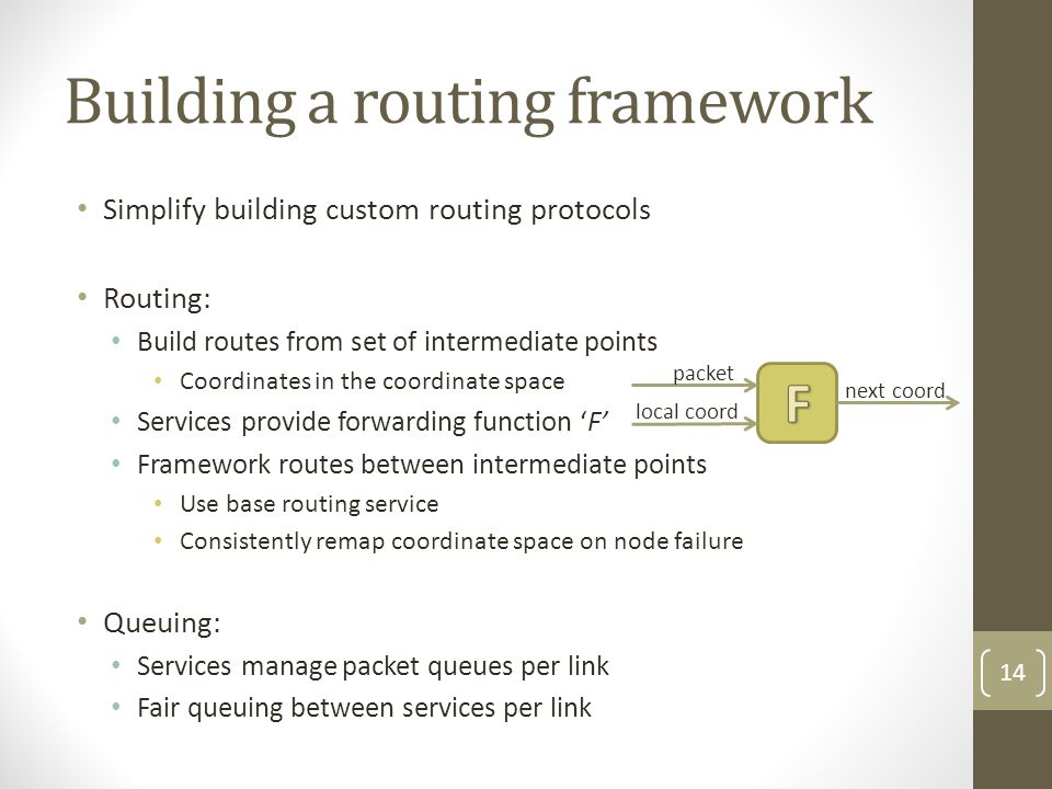 Building a routing framework Simplify building custom routing protocols Routing: Build routes from set of intermediate points Coordinates in the coordinate space Services provide forwarding function F Framework routes between intermediate points Use base routing service Consistently remap coordinate space on node failure Queuing: Services manage packet queues per link Fair queuing between services per link 14 packet local coord next coord