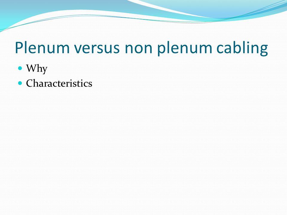 Plenum versus non plenum cabling Why Characteristics