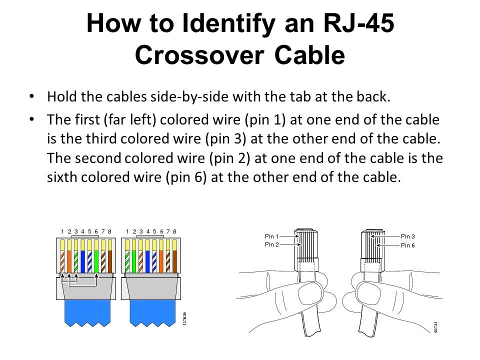 Hold the cables side-by-side with the tab at the back. The first (far left) colored wire (pin 1) at one end of the cable is the third colored wire (pi
