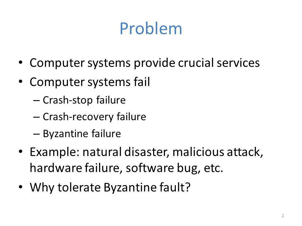 Problem Computer systems provide crucial services Computer systems fail – Crash-stop failure – Crash-recovery failure – Byzantine failure Example: natural disaster, malicious attack, hardware failure, software bug, etc.