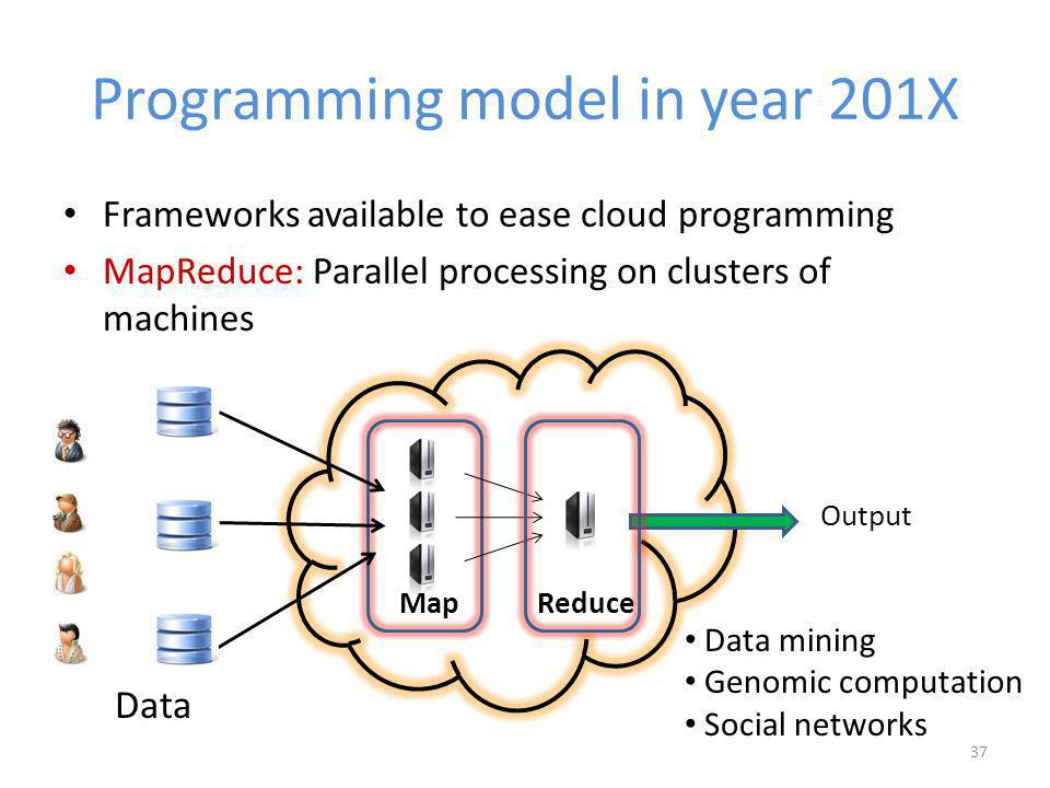Programming model in year 201X Frameworks available to ease cloud programming MapReduce: Parallel processing on clusters of machines 37 ReduceMap Output Data Data mining Genomic computation Social networks