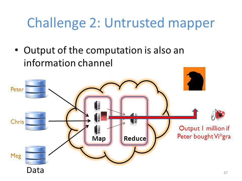 Challenge 2: Untrusted mapper Output of the computation is also an information channel 47 Output 1 million if Peter bought Vi*gra Peter Meg ReduceMap Data Chris