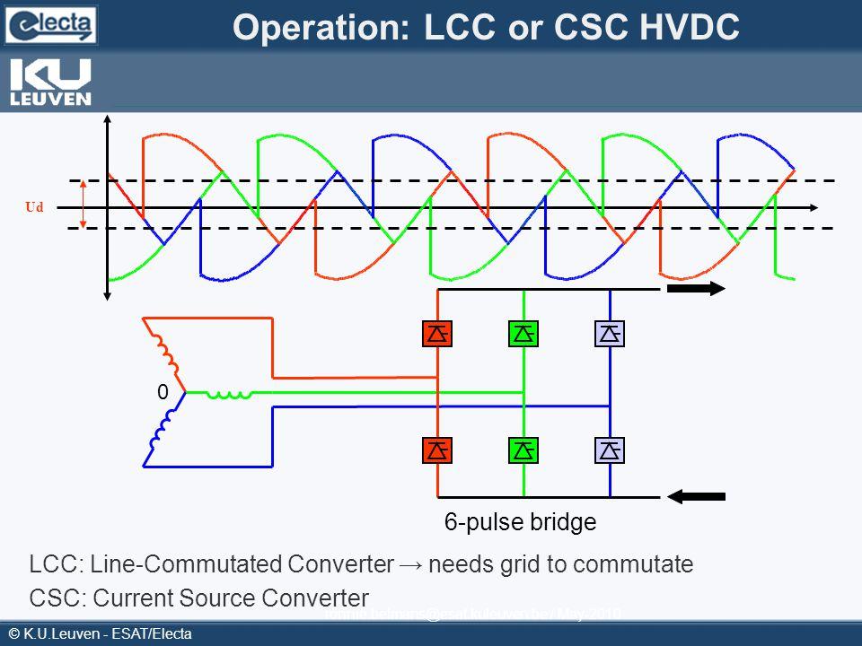 © K.U.Leuven - ESAT/Electa ronnie.belmans@esat.kuleuven.be / May-2010 Operation: LCC or CSC HVDC 6-pulse bridge 0 Ud LCC: Line-Commutated Converter ne