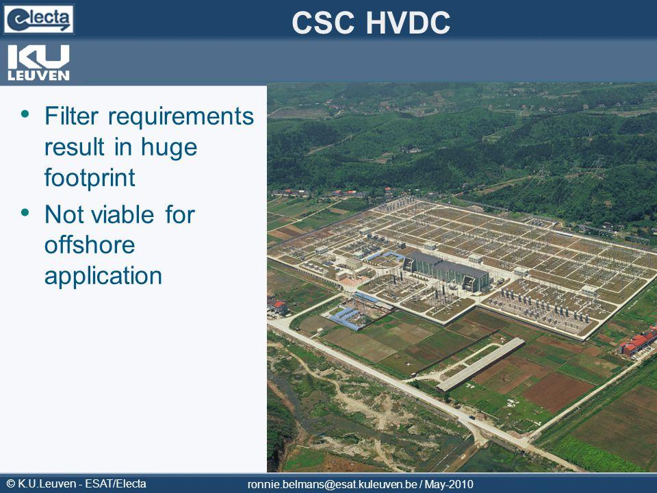 © K.U.Leuven - ESAT/Electa CSC HVDC Filter requirements result in huge footprint Not viable for offshore application ronnie.belmans@esat.kuleuven.be /