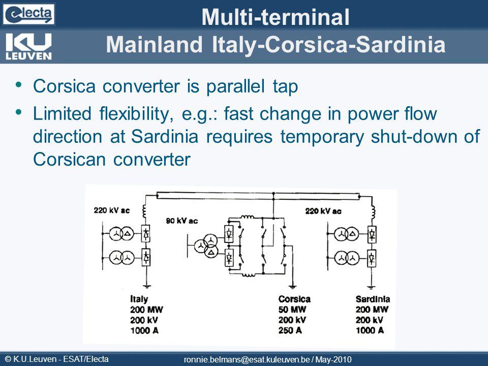 © K.U.Leuven - ESAT/Electa Multi-terminal Mainland Italy-Corsica-Sardinia Corsica converter is parallel tap Limited flexibility, e.g.: fast change in