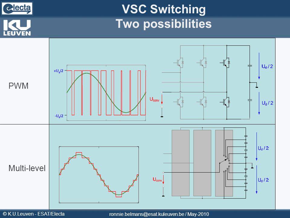 © K.U.Leuven - ESAT/Electa ronnie.belmans@esat.kuleuven.be / May-2010 VSC Switching Two possibilities PWM Multi-level