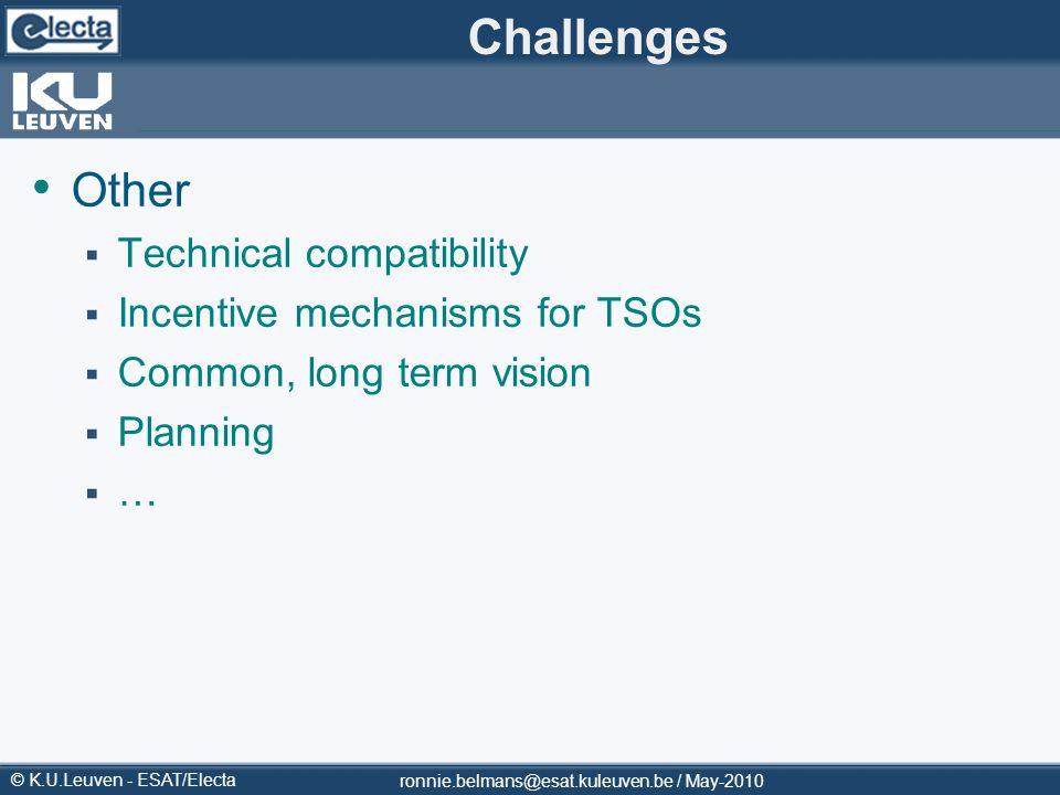 © K.U.Leuven - ESAT/Electa Challenges Other Technical compatibility Incentive mechanisms for TSOs Common, long term vision Planning … ronnie.belmans@e