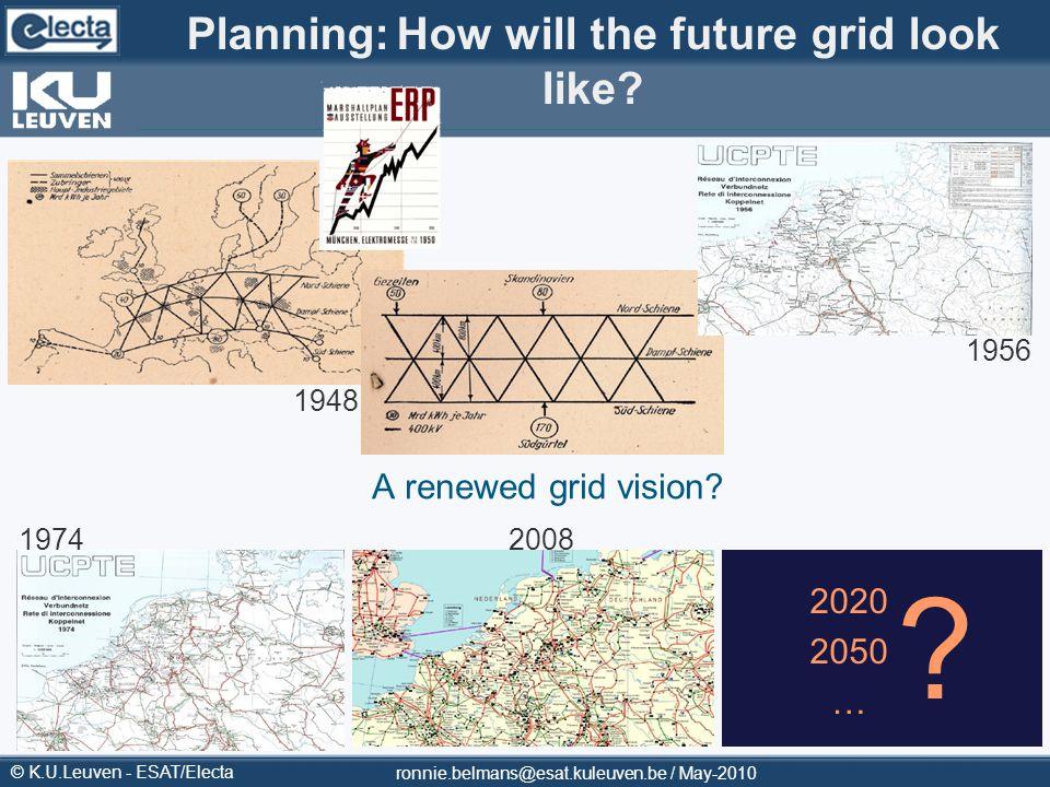 © K.U.Leuven - ESAT/Electa Planning:How will the future grid look like? A renewed grid vision? 2020 2050 … ? 1948 1956 19742008 ronnie.belmans@esat.ku