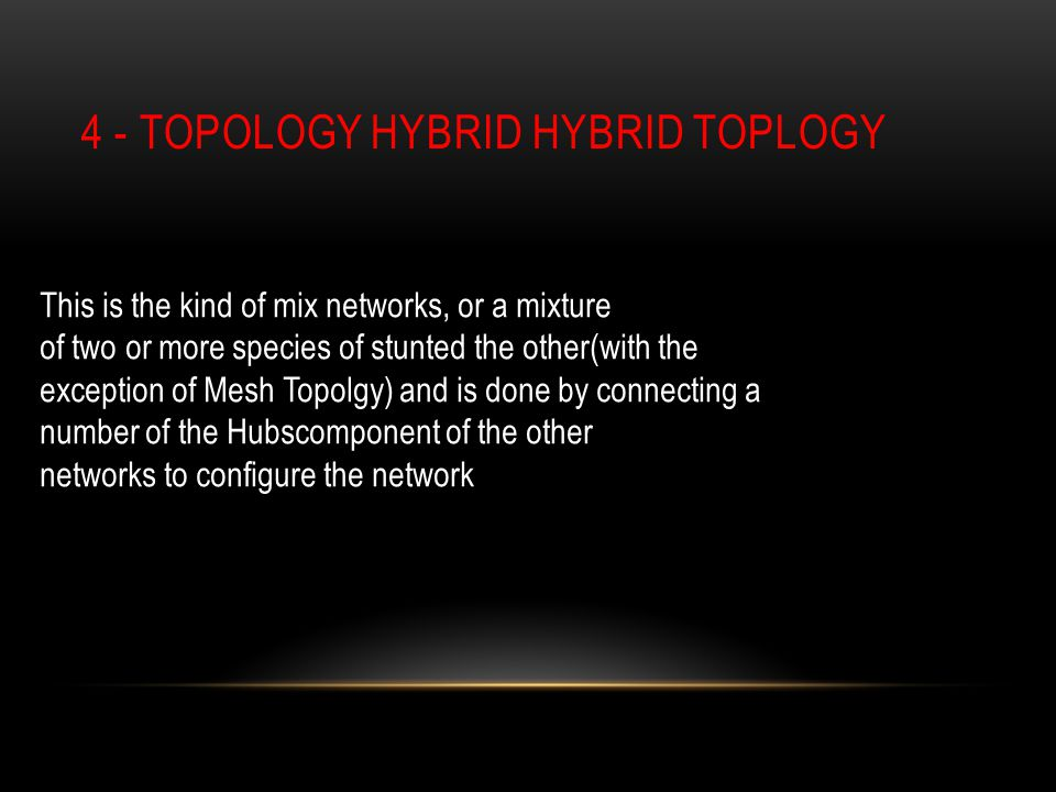 4 - TOPOLOGY HYBRID HYBRID TOPLOGY This is the kind of mix networks, or a mixture of two or more species of stunted the other(with the exception of Mesh Topolgy) and is done by connecting a number of the Hubscomponent of the other networks to configure the network