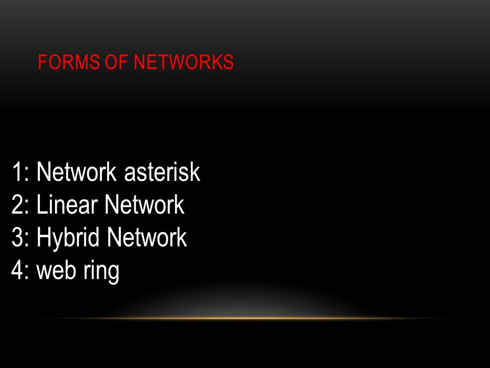 FORMS OF NETWORKS 1: Network asterisk 2: Linear Network 3: Hybrid Network 4: web ring