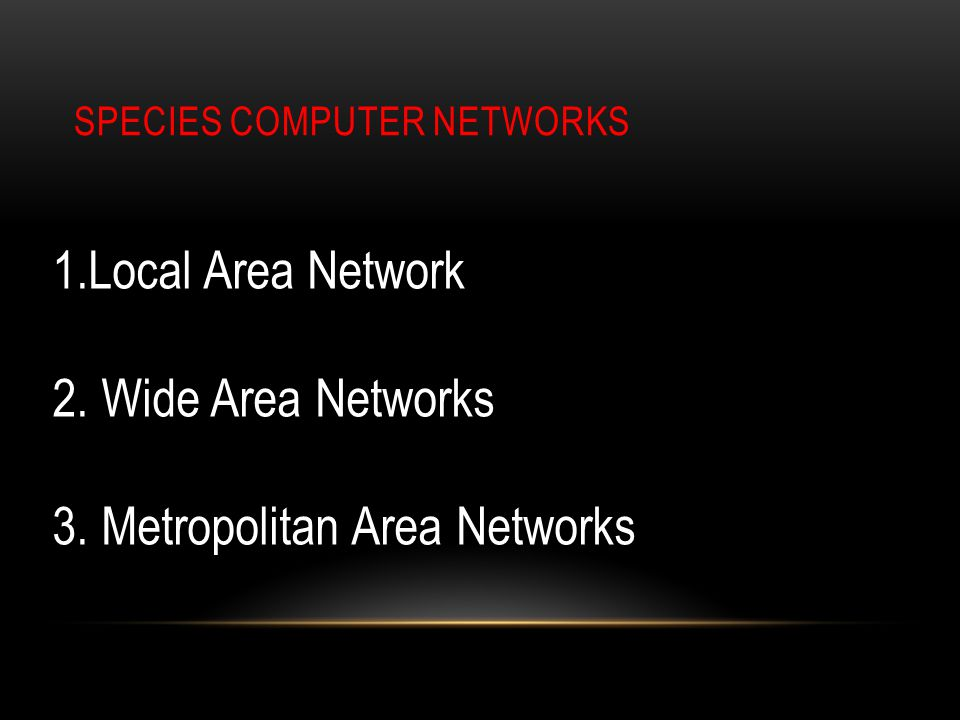 SPECIES COMPUTER NETWORKS 1.Local Area Network 2. Wide Area Networks 3. Metropolitan Area Networks