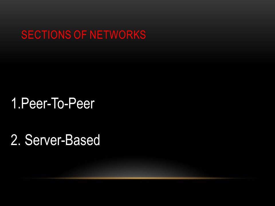 SECTIONS OF NETWORKS 1.Peer-To-Peer 2. Server-Based