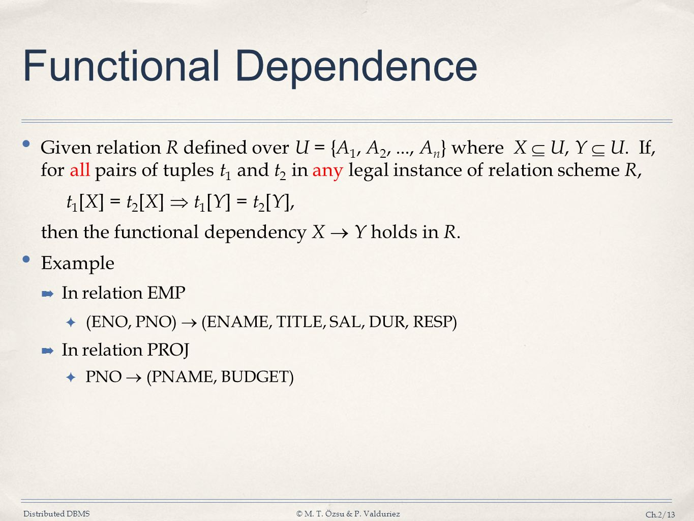 Distributed DBMS© M. T. Özsu & P. Valduriez Ch.2/13 Functional Dependence Given relation R defined over U = { A 1, A 2,..., A n } where X U, Y U. If,