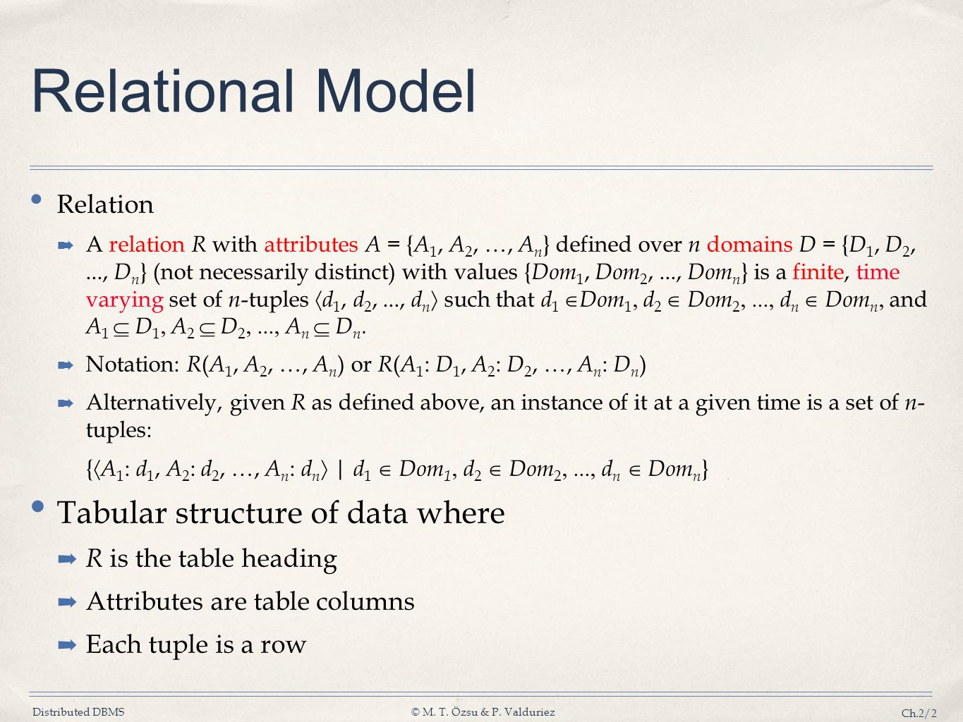 Distributed DBMS© M. T. Özsu & P. Valduriez Ch.2/2 Relational Model Relation A relation R with attributes A = { A 1, A 2, …, A n } defined over n doma