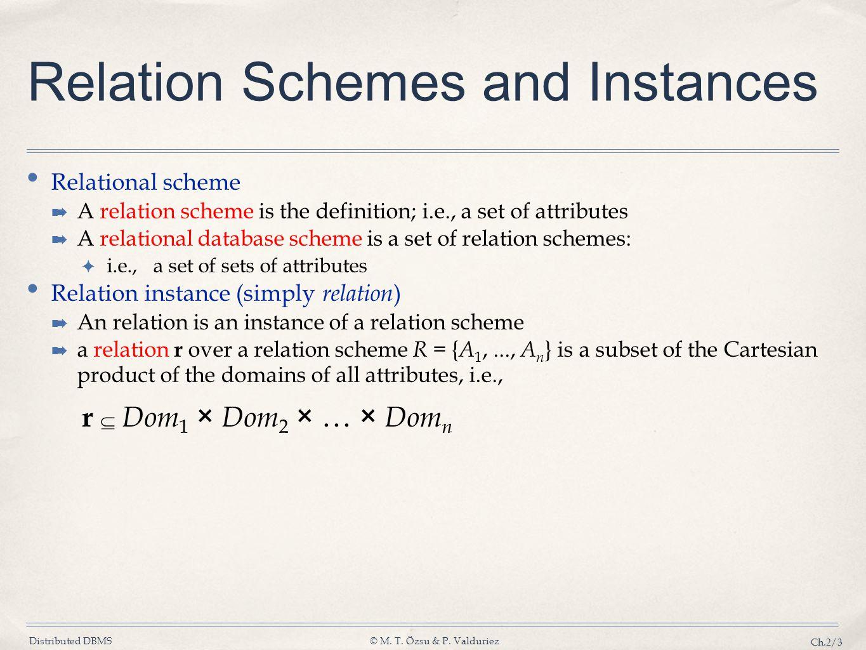 Distributed DBMS© M. T. Özsu & P. Valduriez Ch.2/3 Relation Schemes and Instances Relational scheme A relation scheme is the definition; i.e., a set o