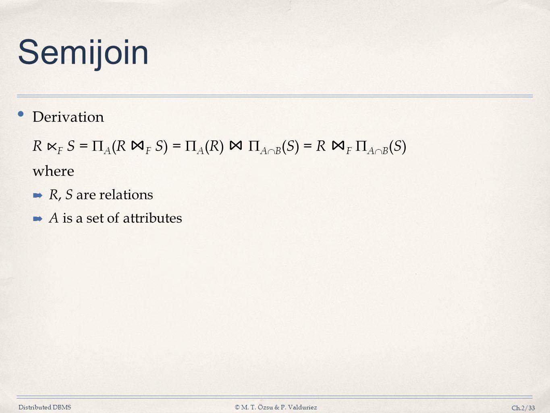 Distributed DBMS© M. T. Özsu & P. Valduriez Ch.2/33 Semijoin Derivation R F S = A ( R F S ) = A ( R ) A B ( S ) = R F A B ( S ) where R, S are relatio